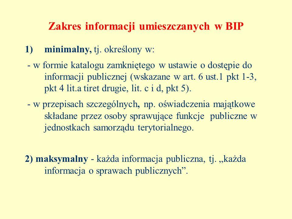 Zakres informacji umieszczanych w BIP 1)minimalny, tj. określony w: - w formie katalogu zamkniętego w ustawie o dostępie do informacji publicznej (wsk