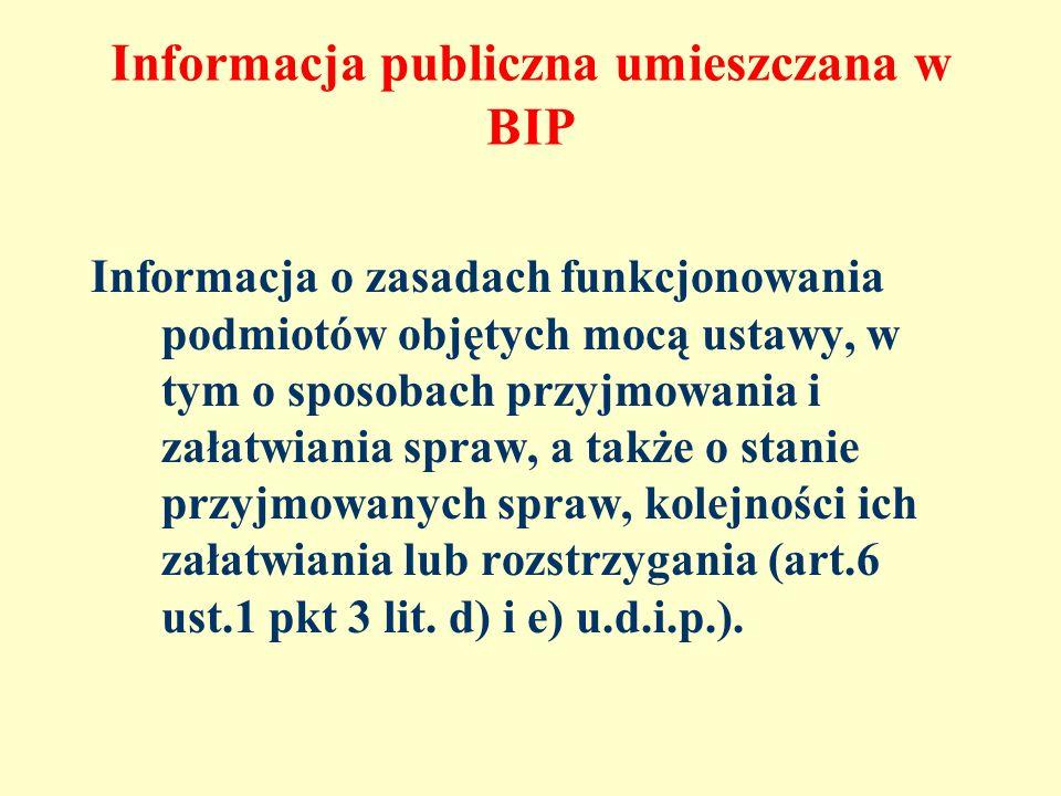 Informacja publiczna umieszczana w BIP Informacja o zasadach funkcjonowania podmiotów objętych mocą ustawy, w tym o sposobach przyjmowania i załatwian