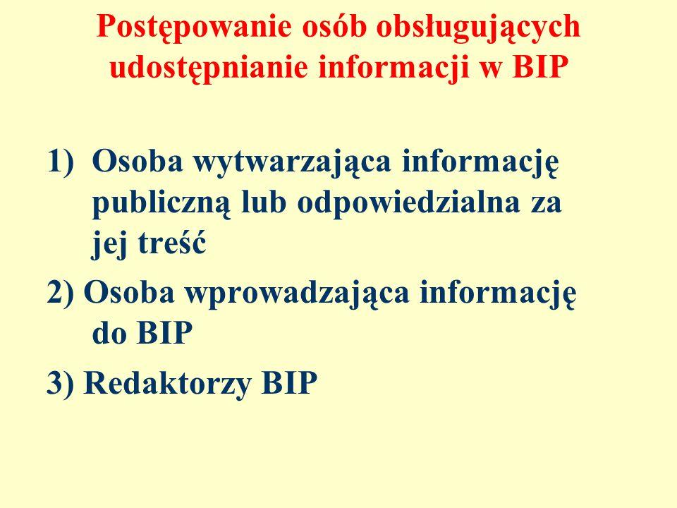 Postępowanie osób obsługujących udostępnianie informacji w BIP 1)Osoba wytwarzająca informację publiczną lub odpowiedzialna za jej treść 2) Osoba wpro