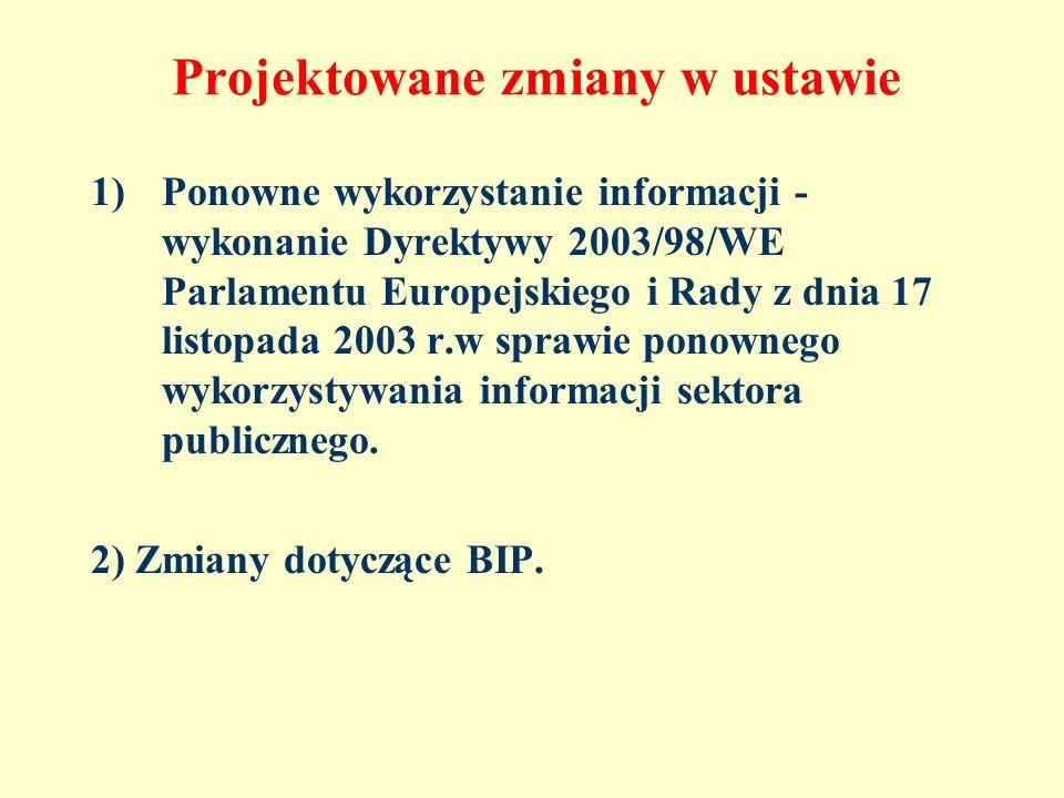 Projektowane zmiany w ustawie 1)Ponowne wykorzystanie informacji - wykonanie Dyrektywy 2003/98/WE Parlamentu Europejskiego i Rady z dnia 17 listopada