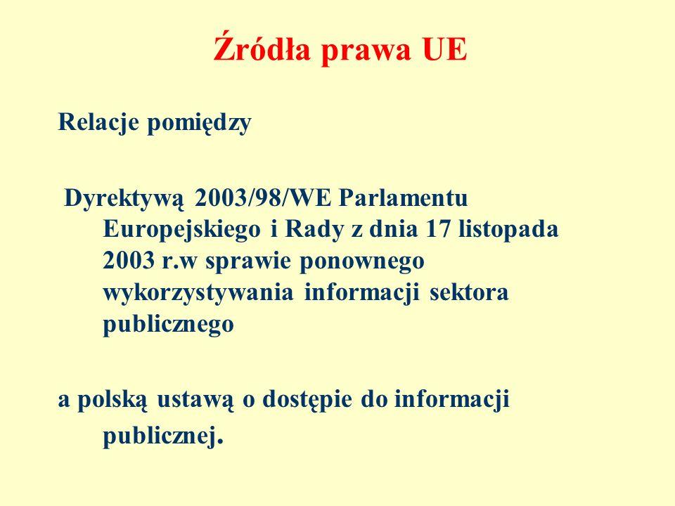 Źródła prawa UE Relacje pomiędzy Dyrektywą 2003/98/WE Parlamentu Europejskiego i Rady z dnia 17 listopada 2003 r.w sprawie ponownego wykorzystywania i