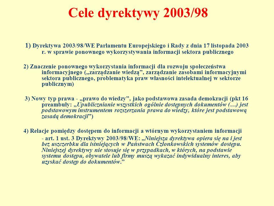 Cele dyrektywy 2003/98 1) Dyrektywa 2003/98/WE Parlamentu Europejskiego i Rady z dnia 17 listopada 2003 r. w sprawie ponownego wykorzystywania informa