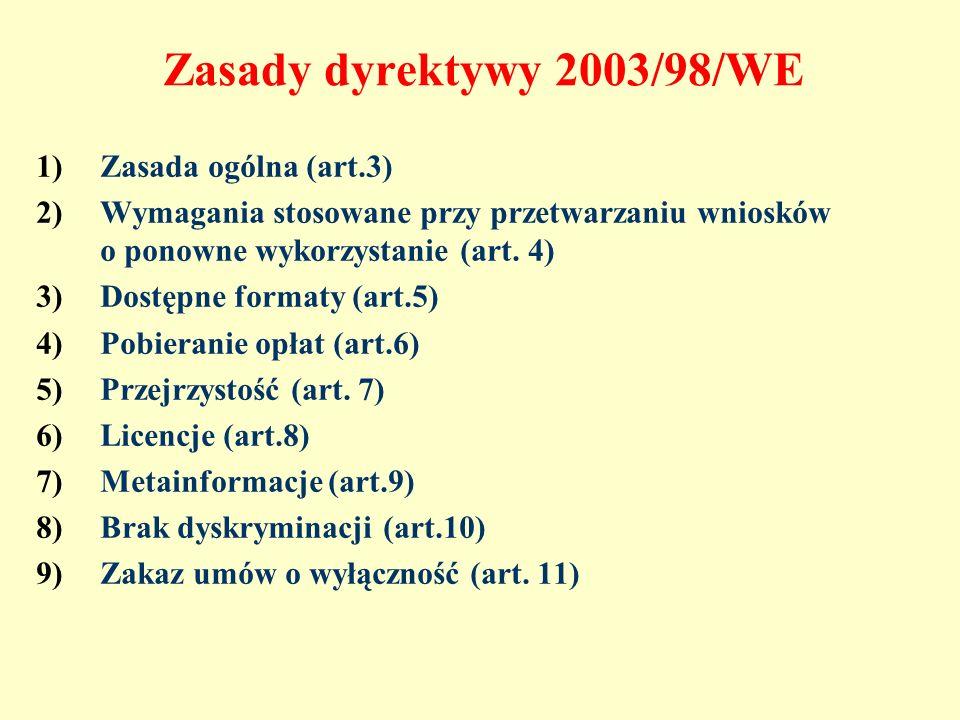 Zasady dyrektywy 2003/98/WE 1)Zasada ogólna (art.3) 2)Wymagania stosowane przy przetwarzaniu wniosków o ponowne wykorzystanie (art. 4) 3)Dostępne form