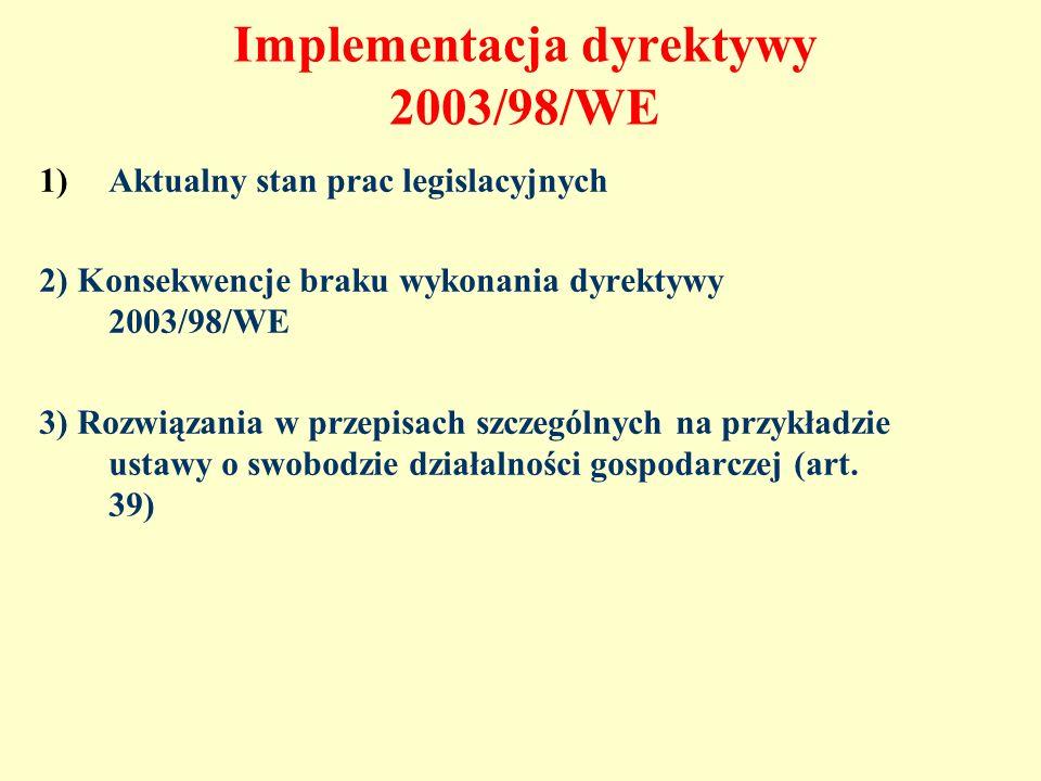Implementacja dyrektywy 2003/98/WE 1)Aktualny stan prac legislacyjnych 2) Konsekwencje braku wykonania dyrektywy 2003/98/WE 3) Rozwiązania w przepisac