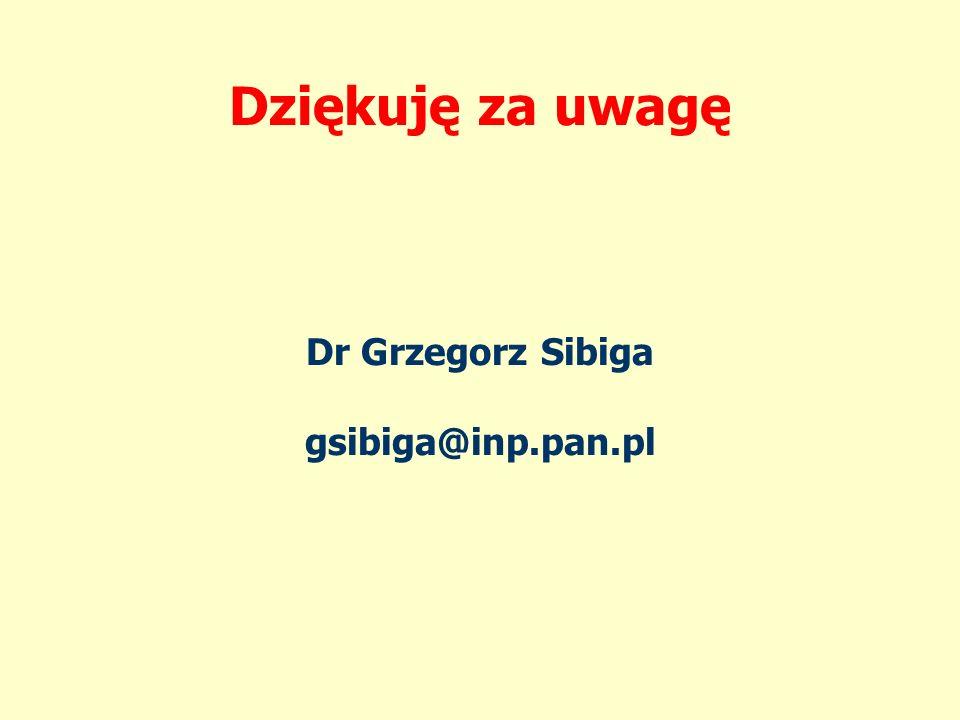 Dziękuję za uwagę Dr Grzegorz Sibiga gsibiga@inp.pan.pl