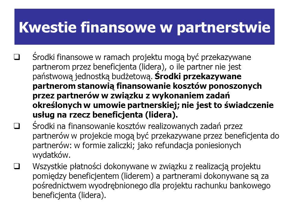 Środki finansowe w ramach projektu mogą być przekazywane partnerom przez beneficjenta (lidera), o ile partner nie jest państwową jednostką budżetową.
