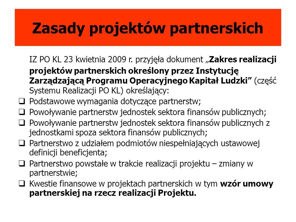 Zasady projektów partnerskich IZ PO KL 23 kwietnia 2009 r.