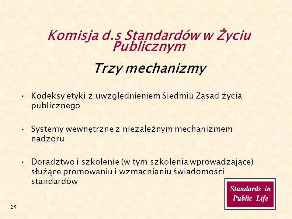 25 Komisja d.s Standardów w Życiu Publicznym Trzy mechanizmy Kodeksy etyki z uwzględnieniem Siedmiu Zasad życia publicznego Systemy wewnętrzne z niezależnym mechanizmem nadzoru Doradztwo i szkolenie (w tym szkolenia wprowadzające) służące promowaniu i wzmacnianiu świadomości standardów