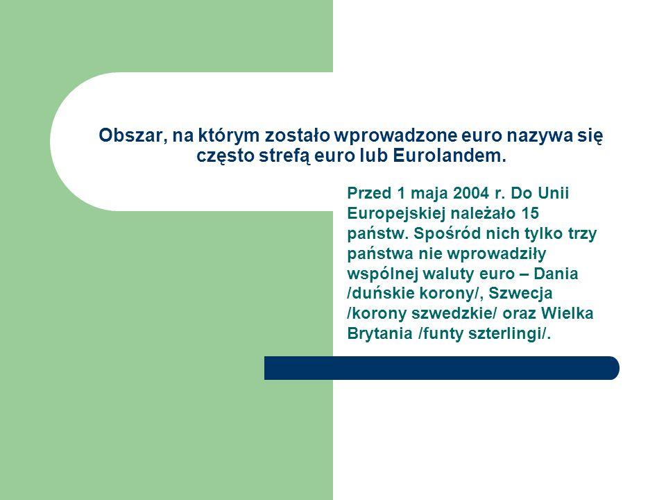 Obszar, na którym zostało wprowadzone euro nazywa się często strefą euro lub Eurolandem.