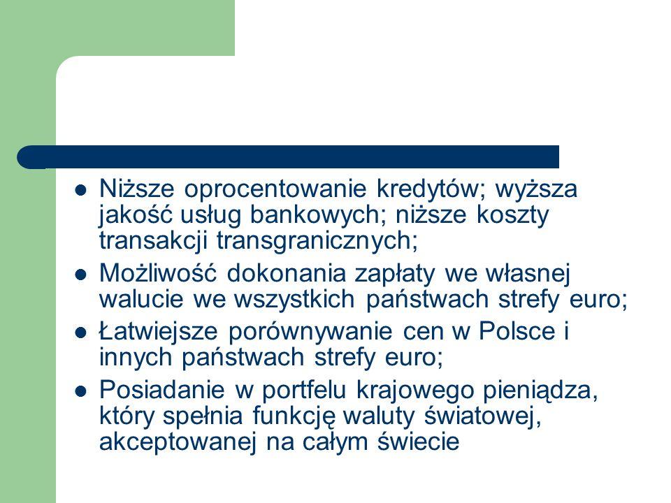 Niższe oprocentowanie kredytów; wyższa jakość usług bankowych; niższe koszty transakcji transgranicznych; Możliwość dokonania zapłaty we własnej walucie we wszystkich państwach strefy euro; Łatwiejsze porównywanie cen w Polsce i innych państwach strefy euro; Posiadanie w portfelu krajowego pieniądza, który spełnia funkcję waluty światowej, akceptowanej na całym świecie
