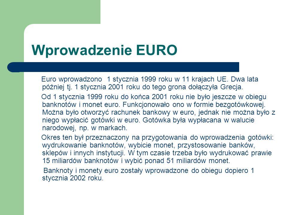 Wprowadzenie EURO Euro wprowadzono 1 stycznia 1999 roku w 11 krajach UE.