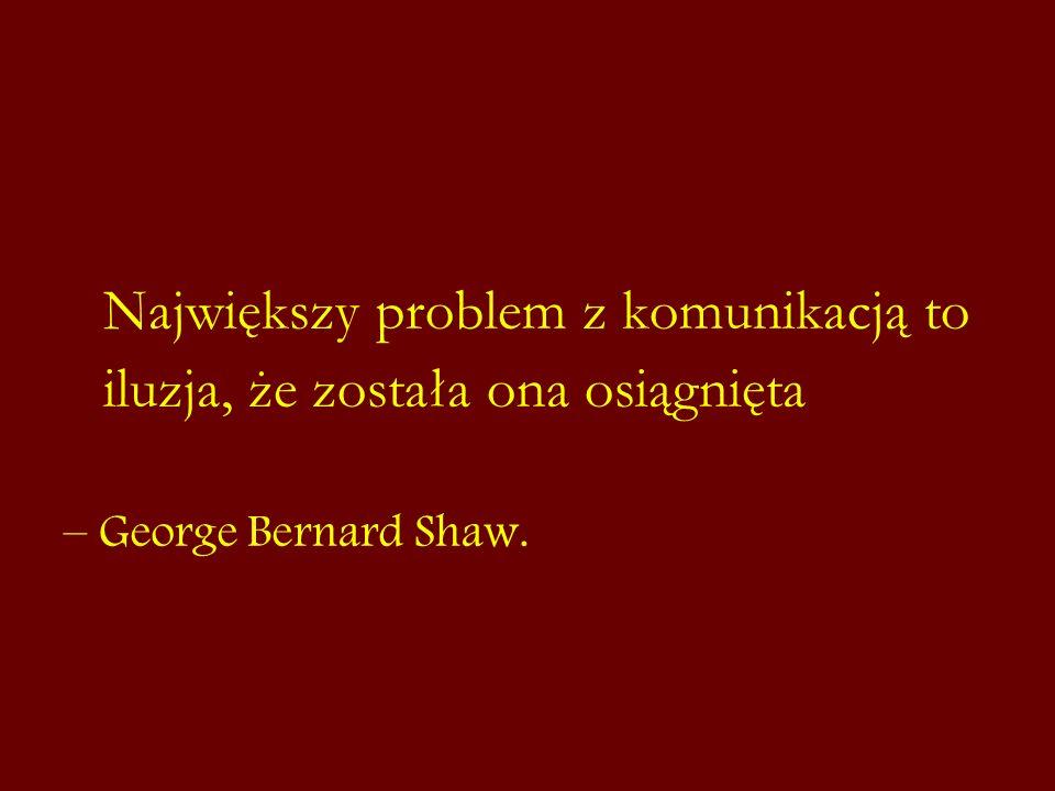 Największy problem z komunikacją to iluzja, że została ona osiągnięta – George Bernard Shaw.