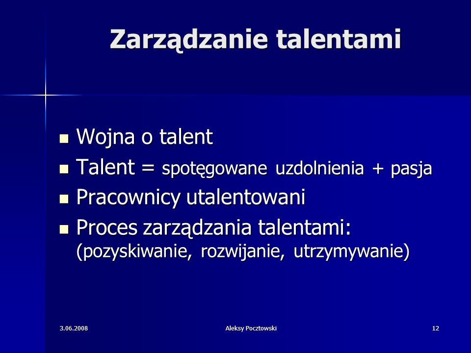 3.06.2008Aleksy Pocztowski12 Zarządzanie talentami Wojna o talent Wojna o talent Talent = spotęgowane uzdolnienia + pasja Talent = spotęgowane uzdolni