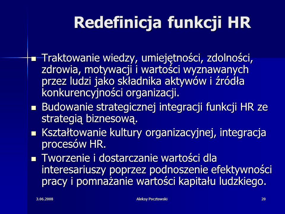 3.06.2008Aleksy Pocztowski20 Redefinicja funkcji HR Traktowanie wiedzy, umiejętności, zdolności, zdrowia, motywacji i wartości wyznawanych przez ludzi
