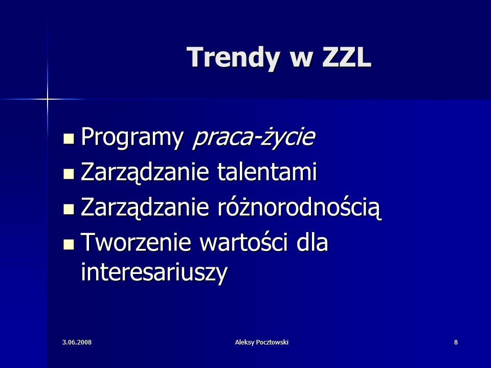 3.06.2008Aleksy Pocztowski8 Trendy w ZZL Programy praca-życie Programy praca-życie Zarządzanie talentami Zarządzanie talentami Zarządzanie różnorodnoś
