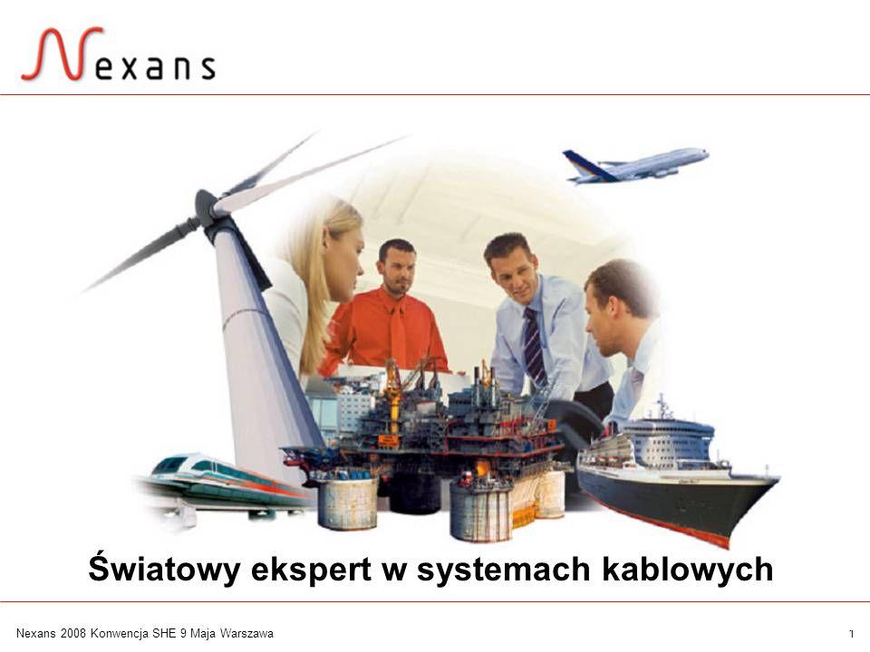 2 Nexans 2008 Konwencja SHE 9 Maja Warszawa Ogólnoświatowy zasięg Nexans jest notowany na giełdzie w Paryżu Fabryki w ponad 30 krajach Przedstawicielstwa w ponad 70 krajach >21.000 pracowników Obroty w 2007 > 7.5 Miliarda