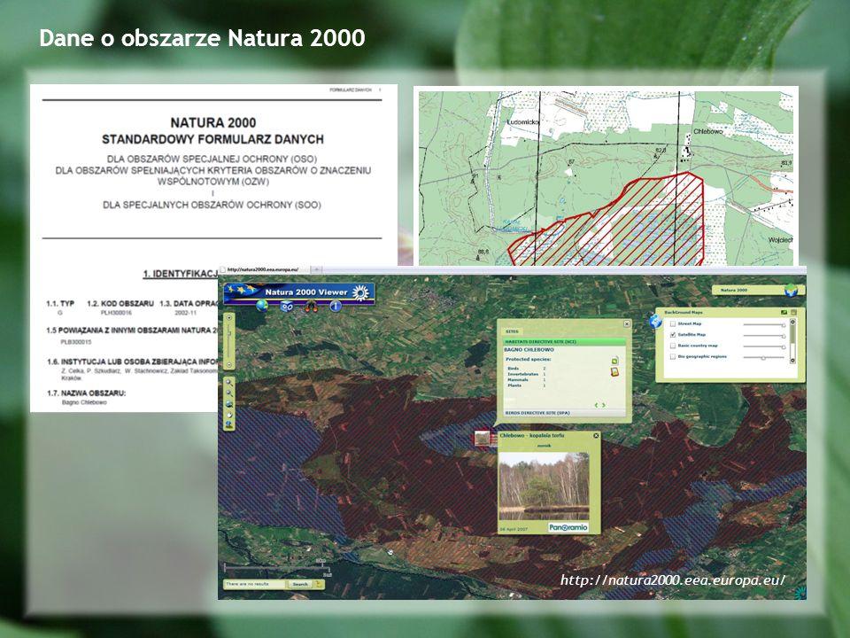 Dane o obszarze Natura 2000 http://natura2000.eea.europa.eu/