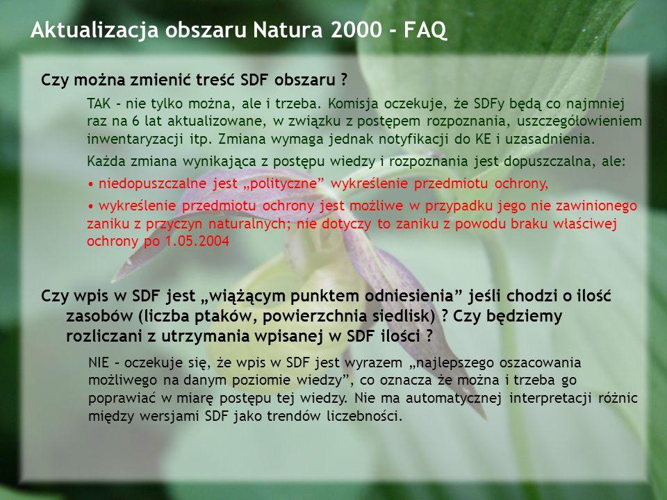 Aktualizacja obszaru Natura 2000 - FAQ Czy można zmienić treść SDF obszaru .