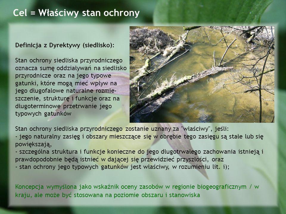 Definicja z Dyrektywy (siedlisko): Stan ochrony siedliska przyrodniczego oznacza sumę oddziaływań na siedlisko przyrodnicze oraz na jego typowe gatunki, które mogą mieć wpływ na jego długofalowe naturalne rozmie- szczenie, strukturę i funkcje oraz na długoterminowe przetrwanie jego typowych gatunków Stan ochrony siedliska przyrodniczego zostanie uznany za właściwy , jeśli: - jego naturalny zasięg i obszary mieszczące się w obrębie tego zasięgu są stałe lub się powiększają, - szczególna struktura i funkcje konieczne do jego długotrwałego zachowania istnieją i prawdopodobnie będą istnieć w dającej się przewidzieć przyszłości, oraz - stan ochrony jego typowych gatunków jest właściwy, w rozumieniu lit.