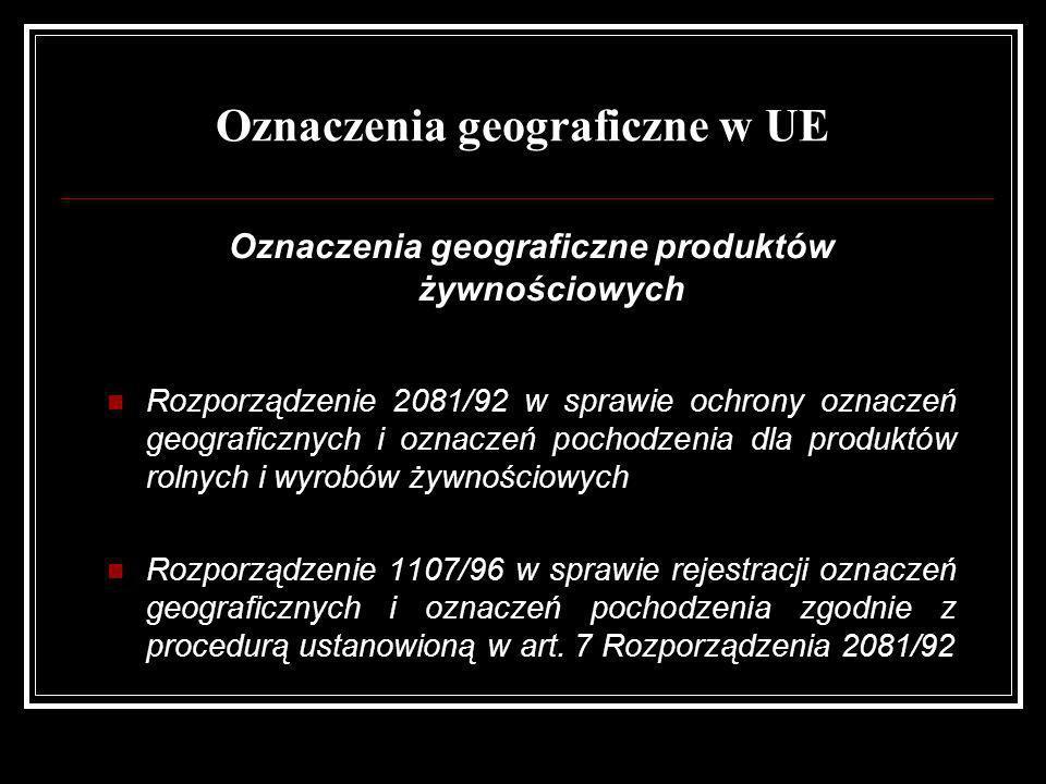 Oznaczenia geograficzne w UE Oznaczenia geograficzne produktów żywnościowych Rozporządzenie 2081/92 w sprawie ochrony oznaczeń geograficznych i oznacz