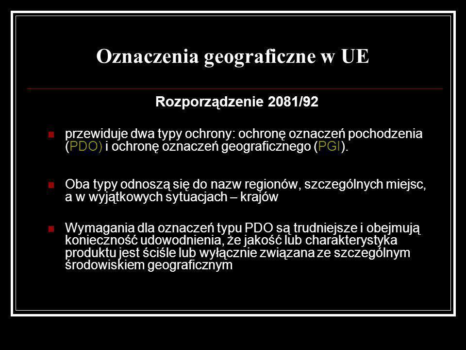 Oznaczenia geograficzne w UE Rozporządzenie 2081/92 przewiduje dwa typy ochrony: ochronę oznaczeń pochodzenia (PDO) i ochronę oznaczeń geograficznego