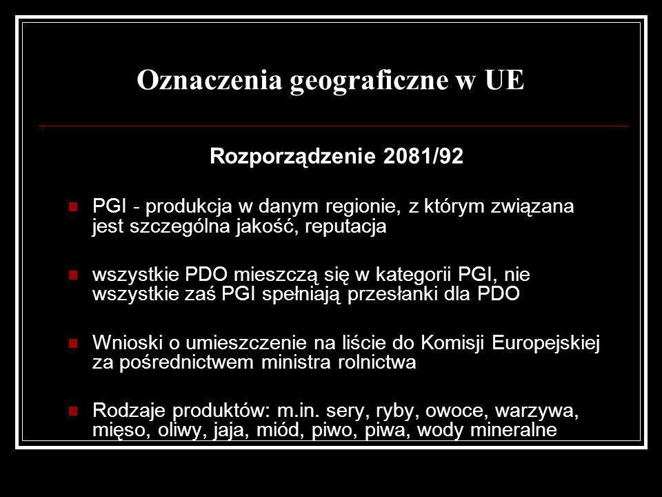 Rozporządzenie 2081/92 PGI - produkcja w danym regionie, z którym związana jest szczególna jakość, reputacja wszystkie PDO mieszczą się w kategorii PG