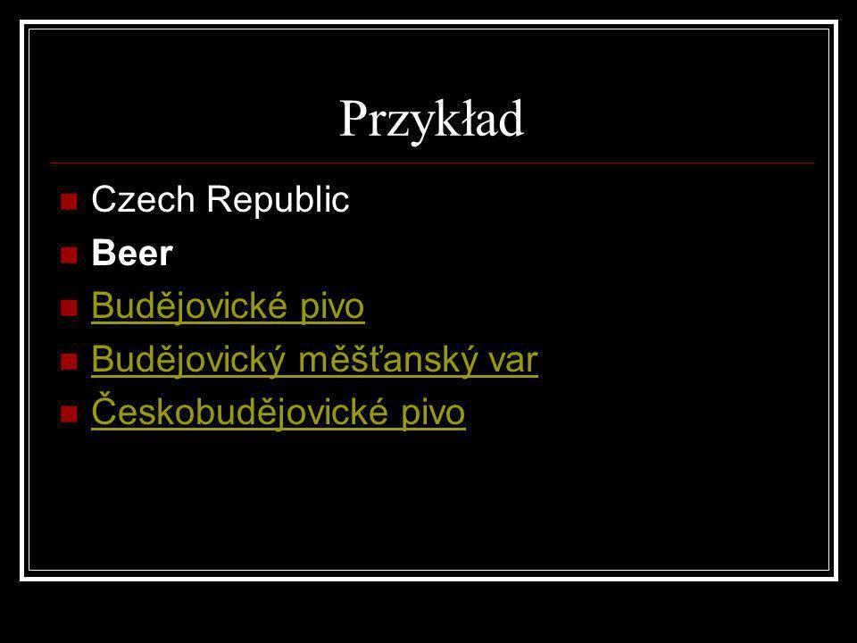 Przykład Czech Republic Beer Budějovické pivo Budějovický měšťanský var Českobudějovické pivo
