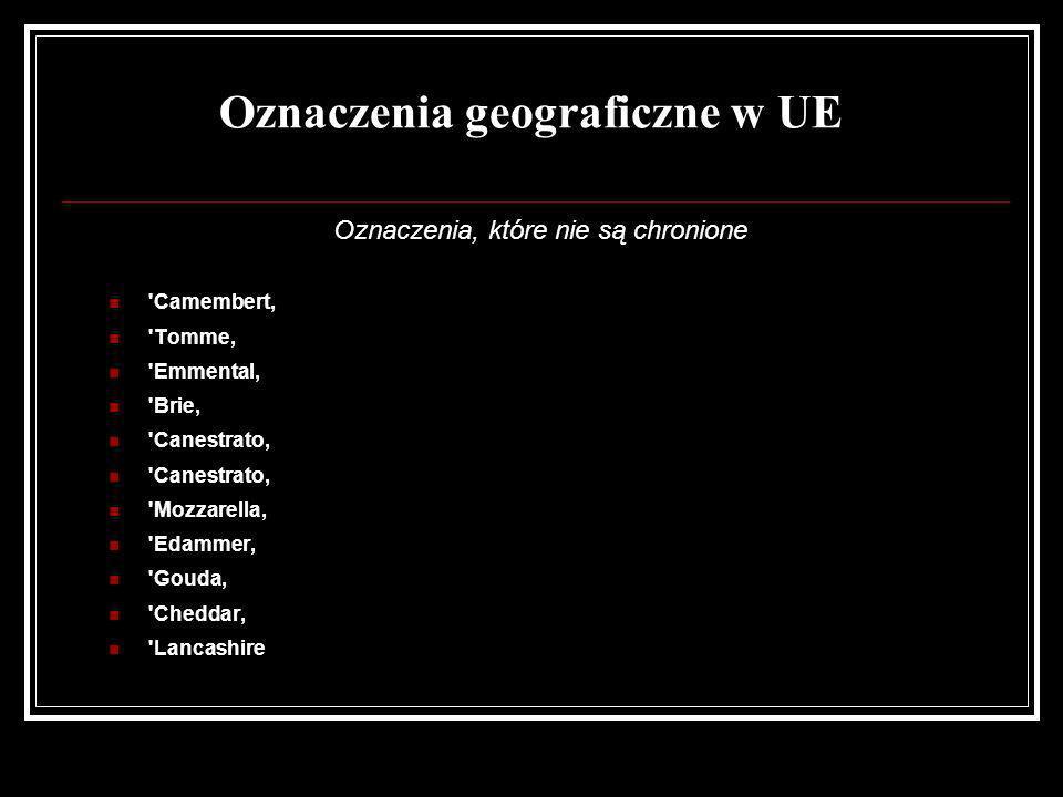 Oznaczenia geograficzne w UE Oznaczenia, które nie są chronione 'Camembert, 'Tomme, 'Emmental, 'Brie, 'Canestrato, 'Mozzarella, 'Edammer, 'Gouda, 'Che