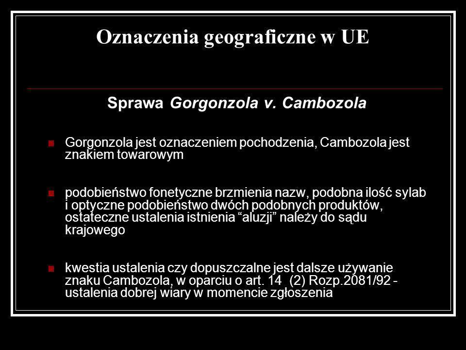 Oznaczenia geograficzne w UE Sprawa Gorgonzola v. Cambozola Gorgonzola jest oznaczeniem pochodzenia, Cambozola jest znakiem towarowym podobieństwo fon