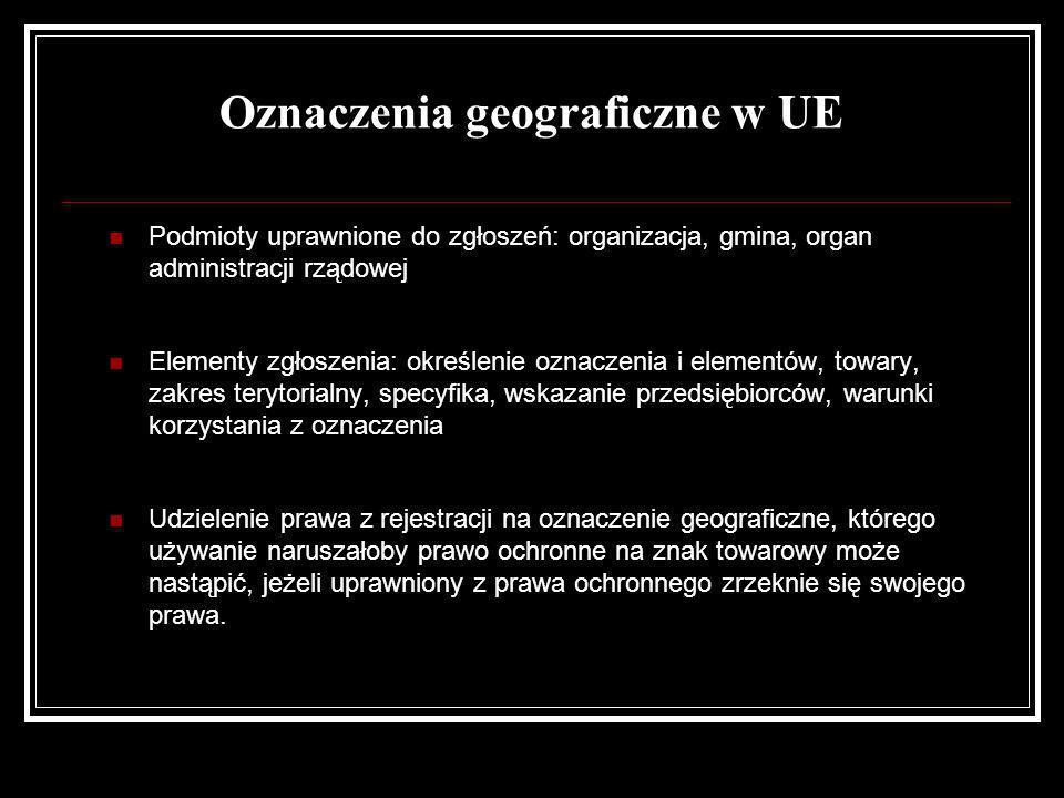 Oznaczenia geograficzne w UE Podmioty uprawnione do zgłoszeń: organizacja, gmina, organ administracji rządowej Elementy zgłoszenia: określenie oznacze