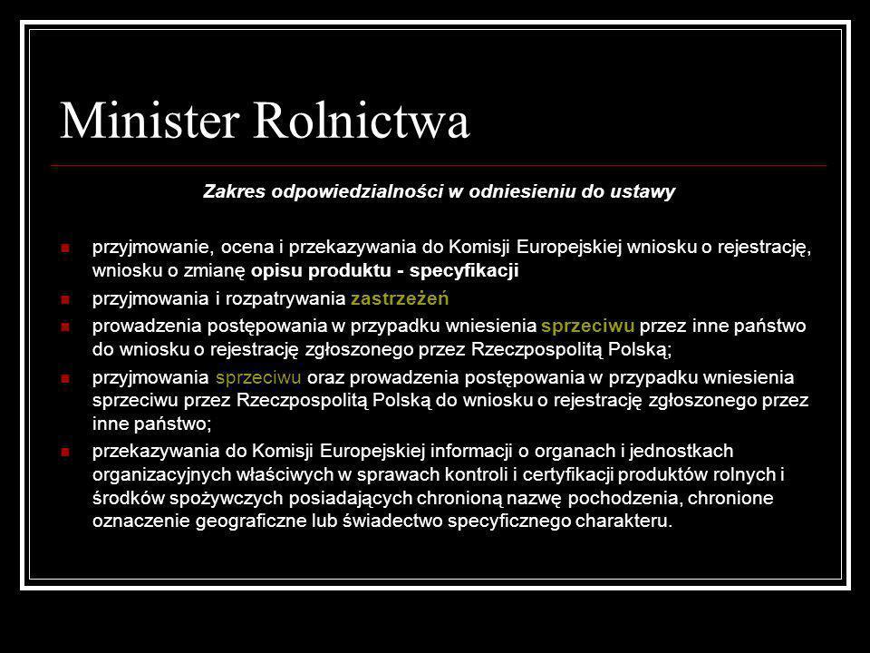 Minister Rolnictwa Zakres odpowiedzialności w odniesieniu do ustawy przyjmowanie, ocena i przekazywania do Komisji Europejskiej wniosku o rejestrację,