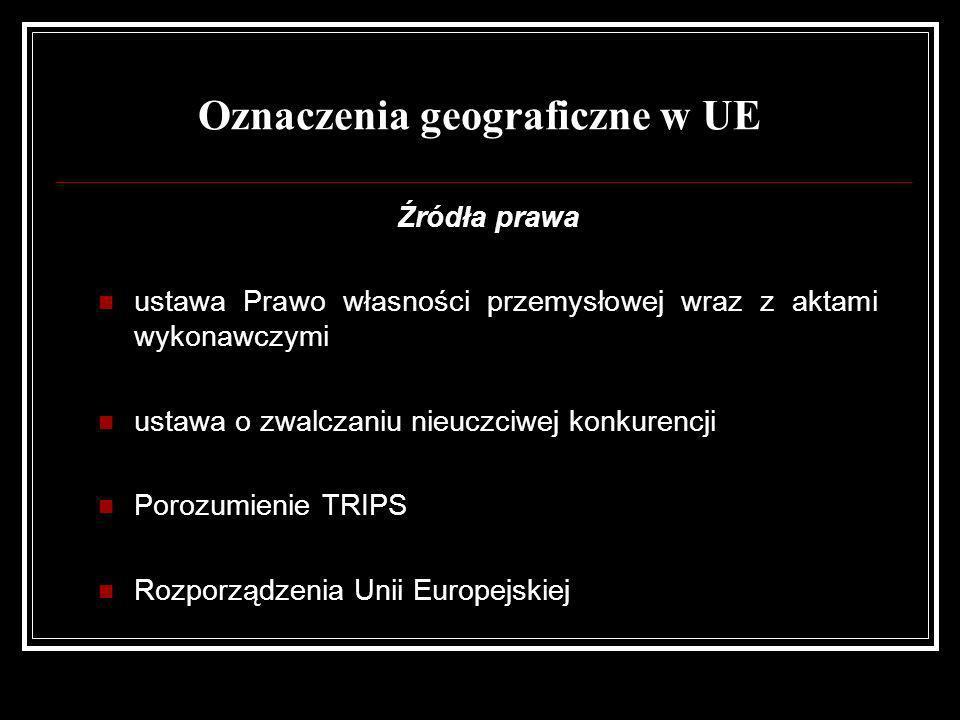 Oznaczenia geograficzne w UE Źródła prawa ustawa Prawo własności przemysłowej wraz z aktami wykonawczymi ustawa o zwalczaniu nieuczciwej konkurencji P
