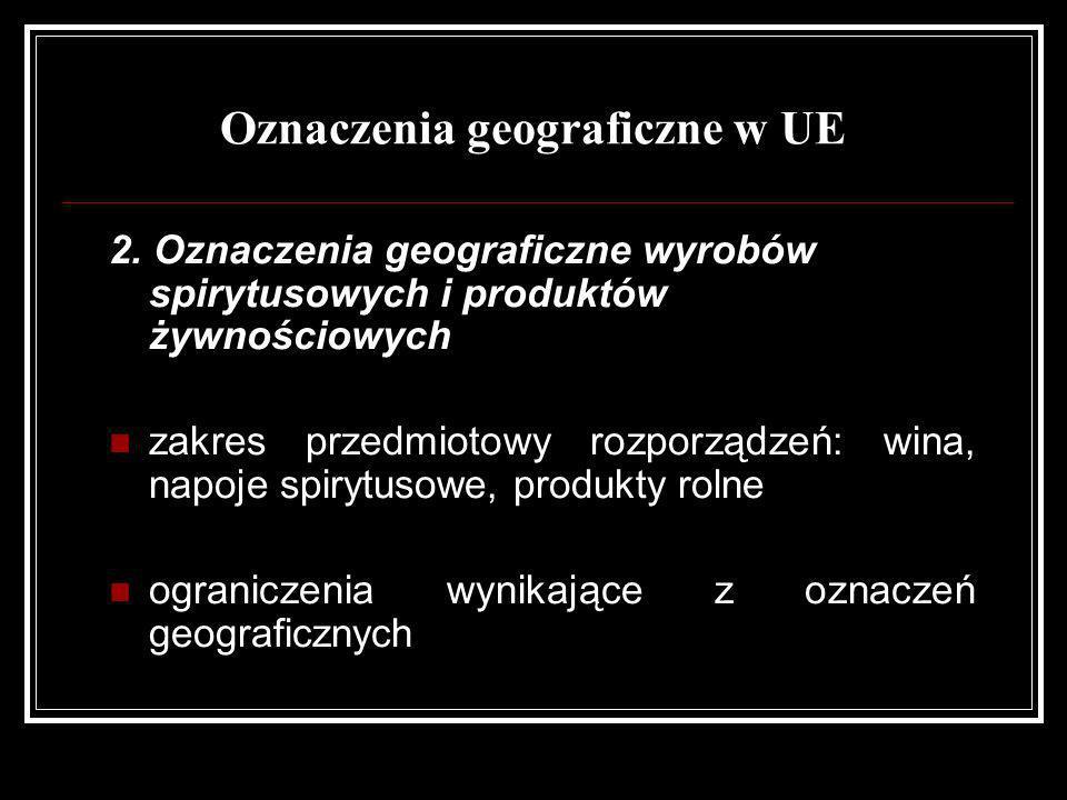 Oznaczenia geograficzne w UE 2. Oznaczenia geograficzne wyrobów spirytusowych i produktów żywnościowych zakres przedmiotowy rozporządzeń: wina, napoje