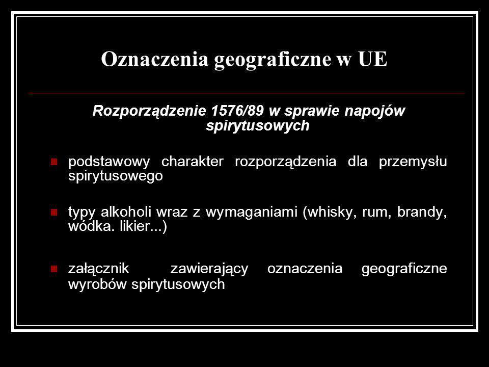 Oznaczenia geograficzne w UE Rozporządzenie 1576/89 w sprawie napojów spirytusowych podstawowy charakter rozporządzenia dla przemysłu spirytusowego ty