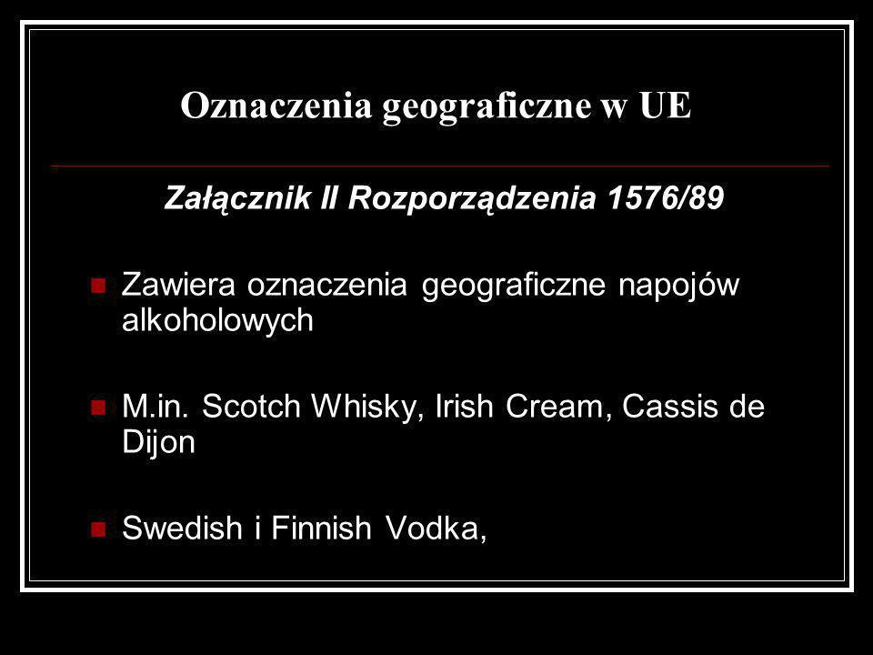 Oznaczenia geograficzne w UE Załącznik II Rozporządzenia 1576/89 Zawiera oznaczenia geograficzne napojów alkoholowych M.in. Scotch Whisky, Irish Cream