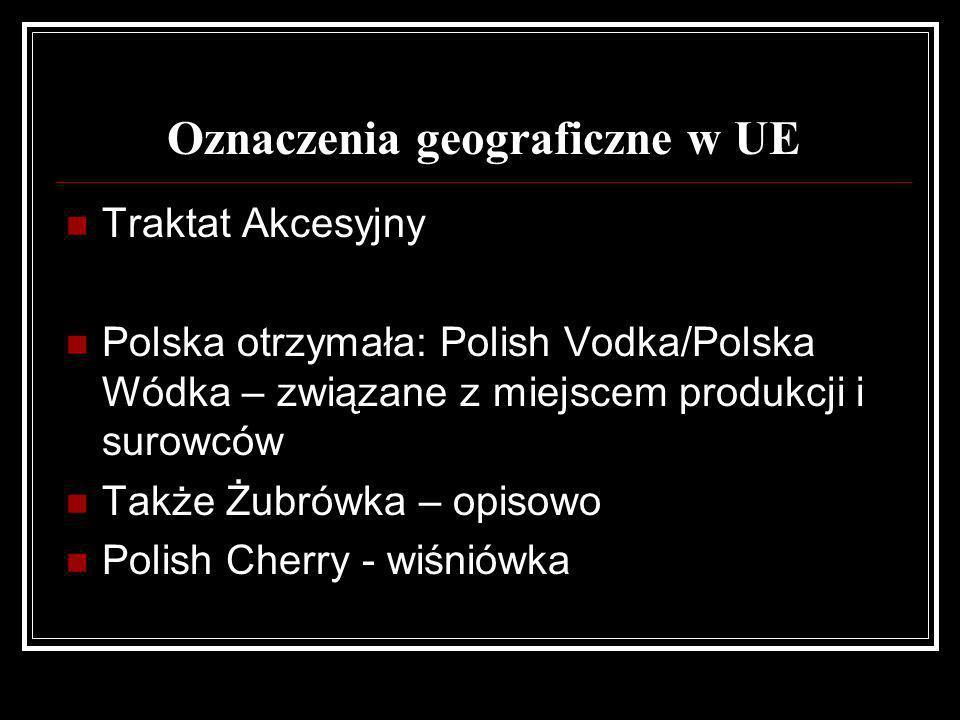 Oznaczenia geograficzne w UE Traktat Akcesyjny Polska otrzymała: Polish Vodka/Polska Wódka – związane z miejscem produkcji i surowców Także Żubrówka –