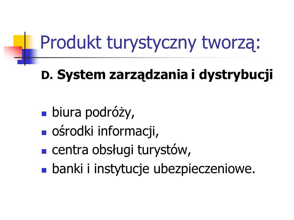 Produkt turystyczny tworzą: D. System zarządzania i dystrybucji biura podróży, ośrodki informacji, centra obsługi turystów, banki i instytucje ubezpie
