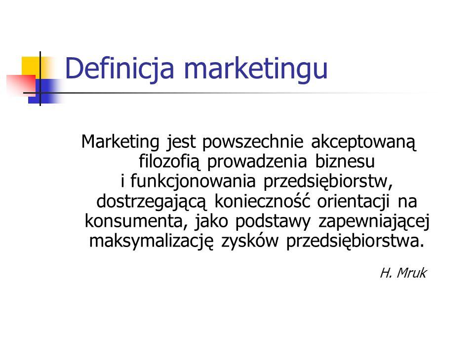 Definicja marketingu Marketing jest procesem społeczno- gospodarczym mającym na celu poznanie przyszłej struktury popytu na produkty lub usługi oraz zaspokojenie go poprzez kreowanie podaży, przekazywanie informacji nabywcom, dostarczanie wytworzonych dóbr w odpowiednim miejscu i czasie, a także ich zrealizowanie J.