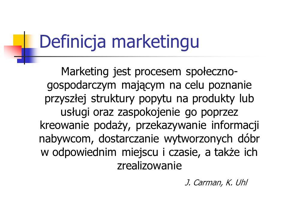 Marketing filozofia przedsiębiorstwa, stanowiąca nowe podejście do rynku i nabywców dzięki przyjęciu i stosowaniu orientacji na klienta zespół metod i technik badania potrzeb konsumenta oraz działania na konkurencyjnym rynku mające na celu sprzedaż dóbr i usług ku zadowoleniu kupującego