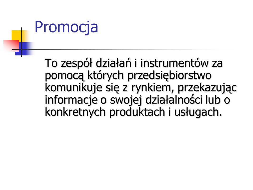 Promocja To zespół działań i instrumentów za pomocą których przedsiębiorstwo komunikuje się z rynkiem, przekazując informacje o swojej działalności lu