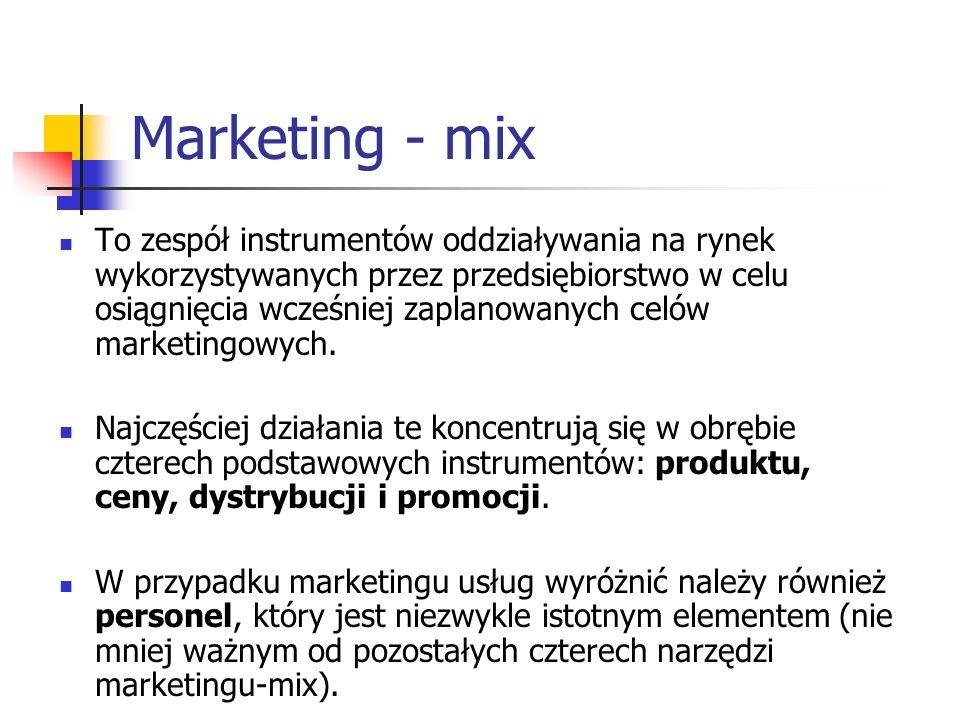 Marketing - mix To zespół instrumentów oddziaływania na rynek wykorzystywanych przez przedsiębiorstwo w celu osiągnięcia wcześniej zaplanowanych celów