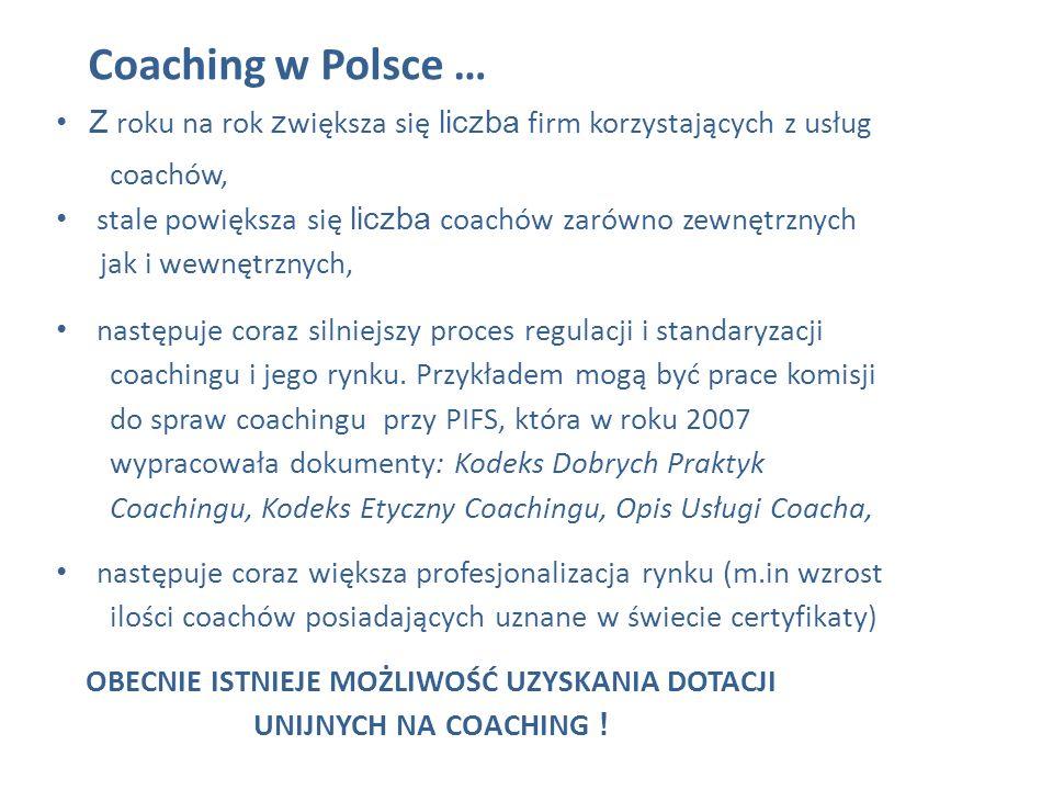 Coaching w Polsce … Z roku na rok z większa się liczba firm korzystających z usług coachów, stale powiększa się liczba coachów zarówno zewnętrznych ja