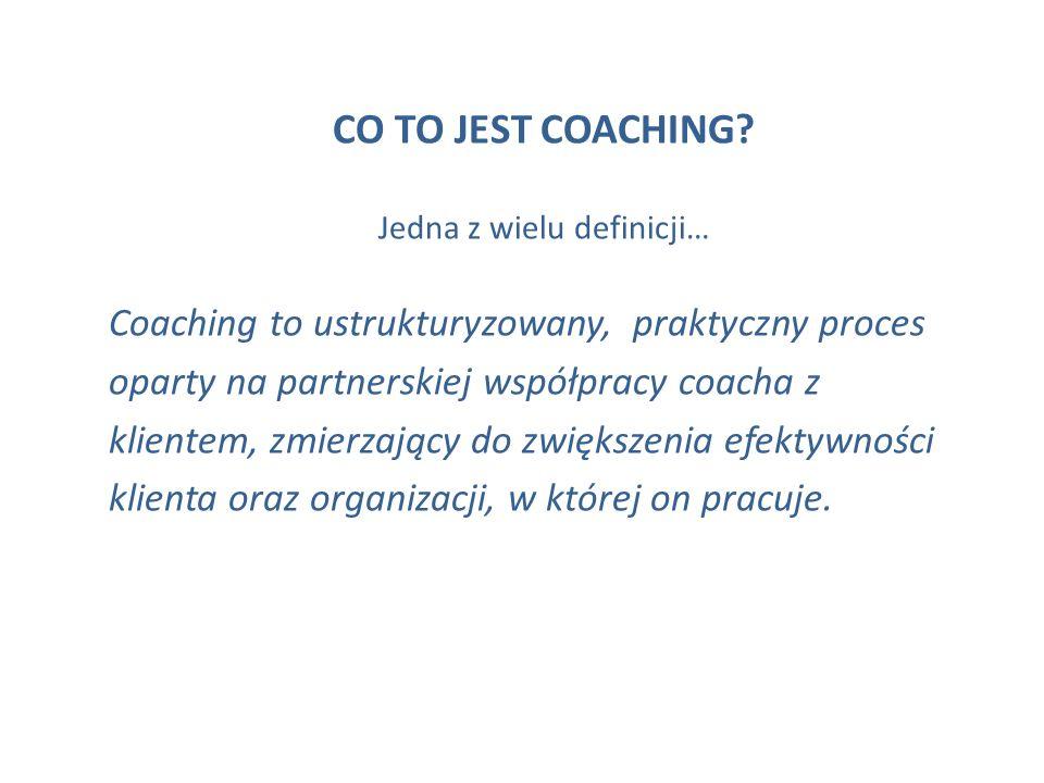 CO TO JEST COACHING? Jedna z wielu definicji… Coaching to ustrukturyzowany, praktyczny proces oparty na partnerskiej współpracy coacha z klientem, zmi