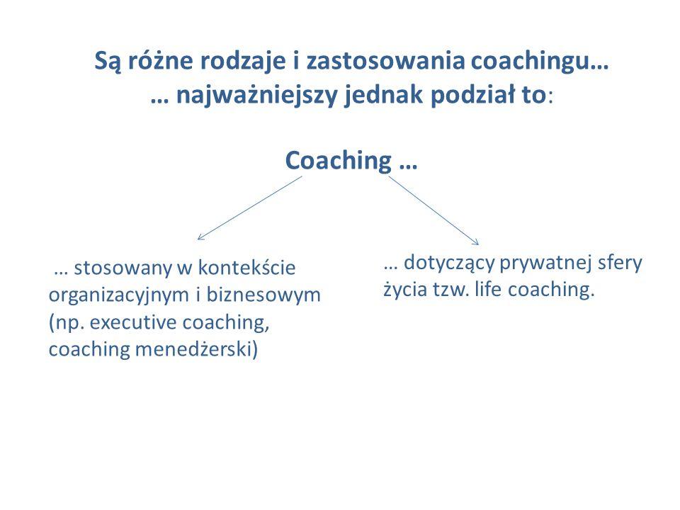 Są różne rodzaje i zastosowania coachingu… … najważniejszy jednak podział to : Coaching … … stosowany w kontekście organizacyjnym i biznesowym (np. ex