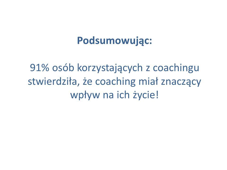 Podsumowując: 91% osób korzystających z coachingu stwierdziła, że coaching miał znaczący wpływ na ich życie!