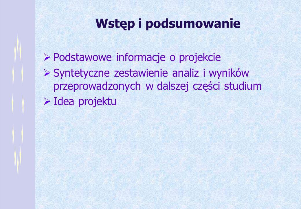 Wstęp i podsumowanie Podstawowe informacje o projekcie Syntetyczne zestawienie analiz i wyników przeprowadzonych w dalszej części studium Idea projekt