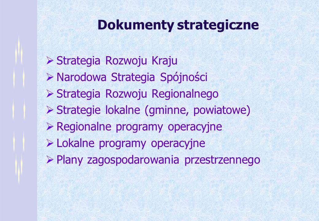 Dokumenty strategiczne Strategia Rozwoju Kraju Narodowa Strategia Spójności Strategia Rozwoju Regionalnego Strategie lokalne (gminne, powiatowe) Regio