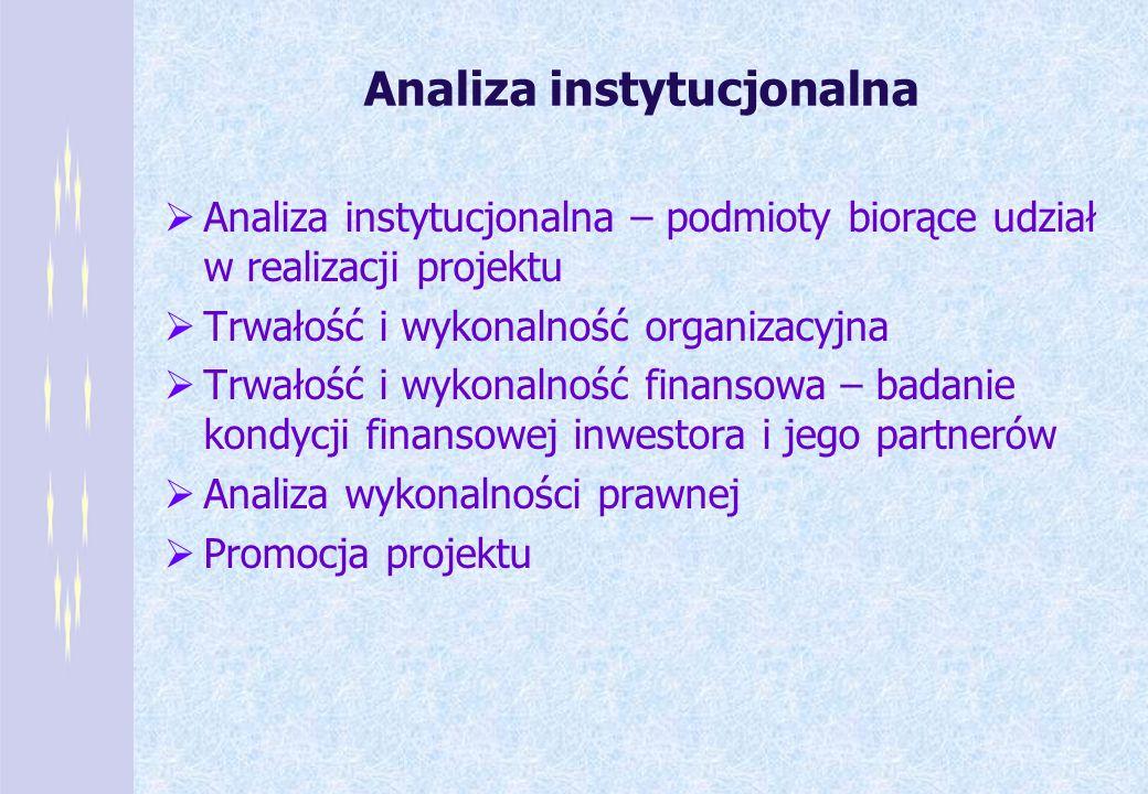 Analiza instytucjonalna Analiza instytucjonalna – podmioty biorące udział w realizacji projektu Trwałość i wykonalność organizacyjna Trwałość i wykona