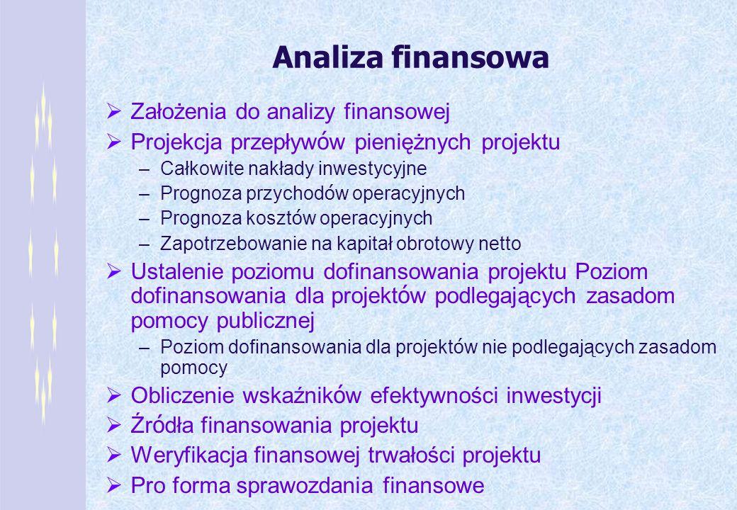 Analiza finansowa Założenia do analizy finansowej Projekcja przepływ ó w pieniężnych projektu –Całkowite nakłady inwestycyjne –Prognoza przychod ó w o