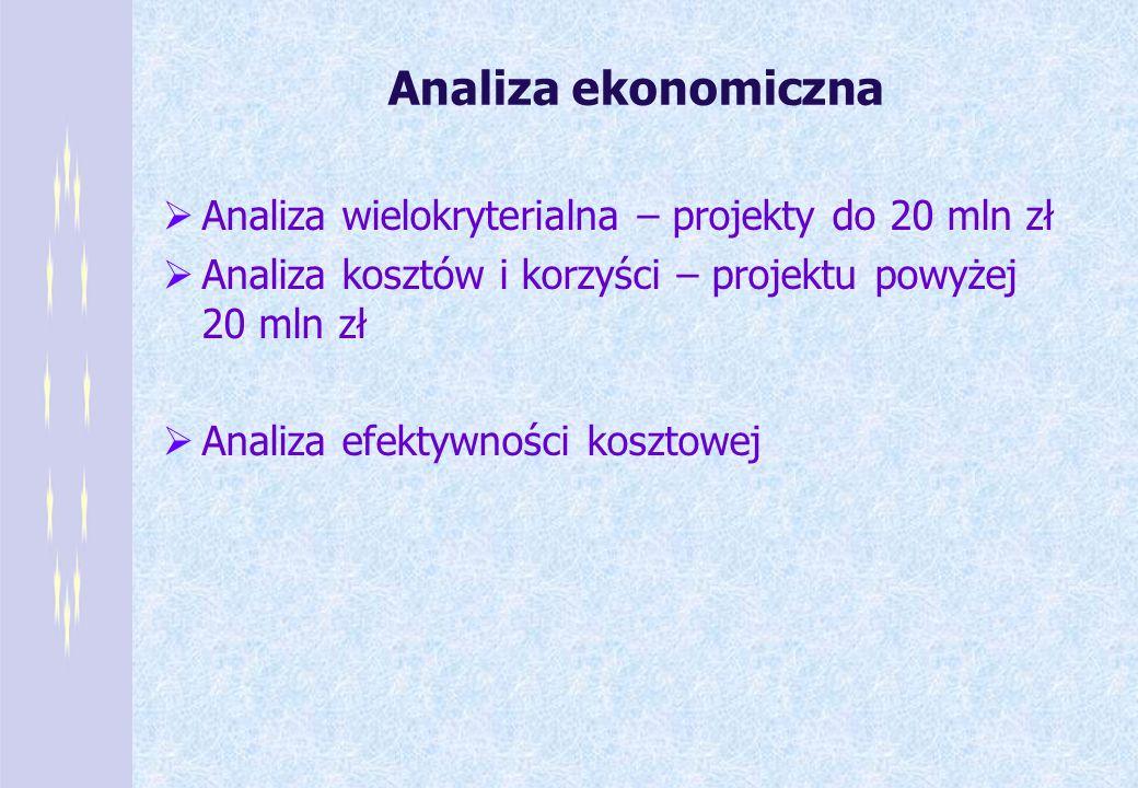 Analiza ekonomiczna Analiza wielokryterialna – projekty do 20 mln zł Analiza kosztów i korzyści – projektu powyżej 20 mln zł Analiza efektywności kosz